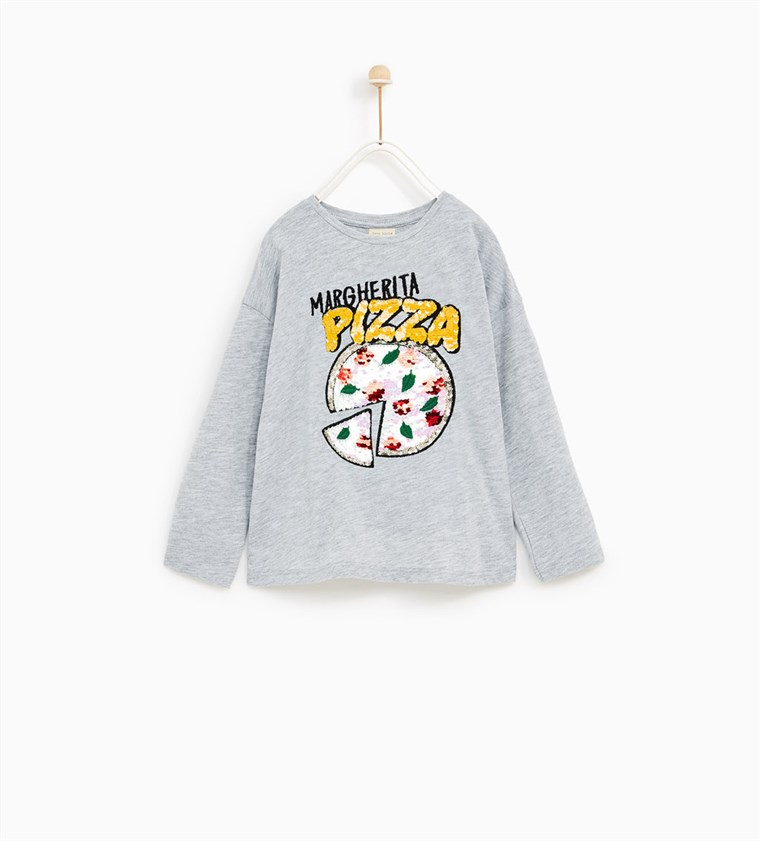 KETTŐS SEQUINNED T-SHIRT WITH PIZZA APPLIQU?