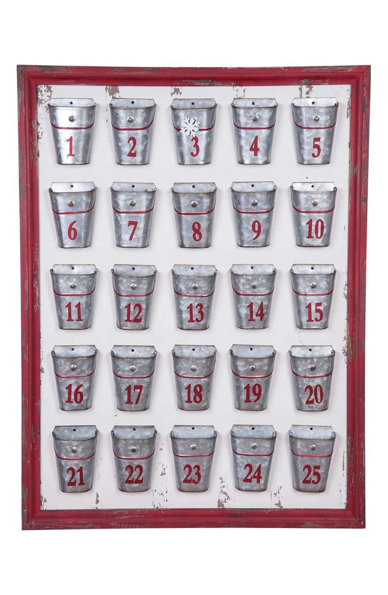 Foreside Galvanized Bucket Advent Calendar