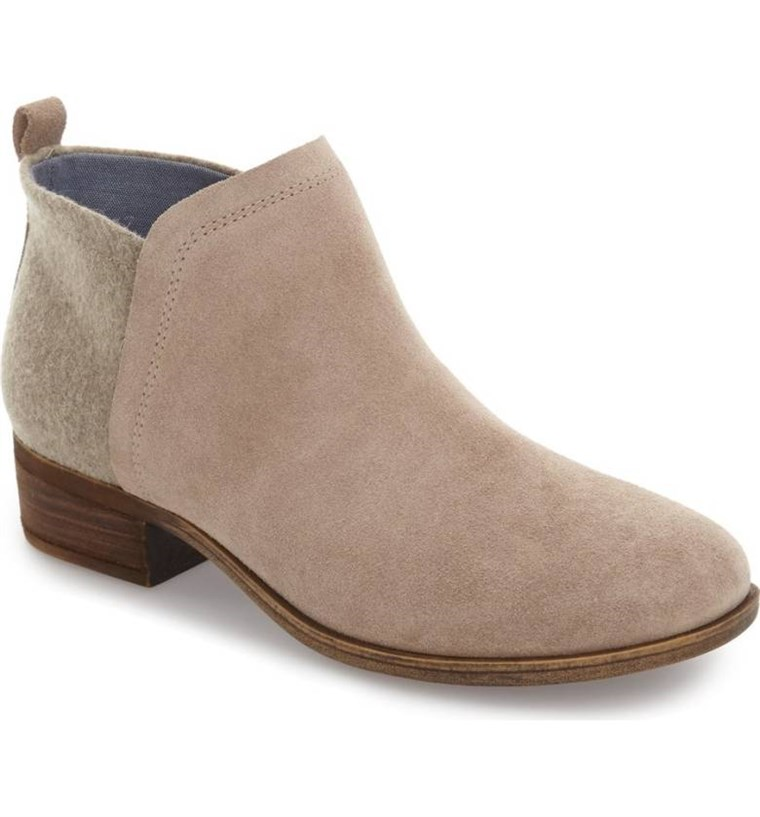 TOMS bootie in tan suede