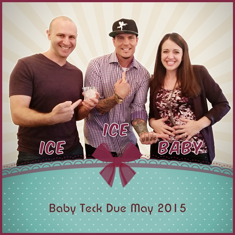 Emily and Jason Teck get a little help from Vanilla Ice in announcing their newest addition to the family.
