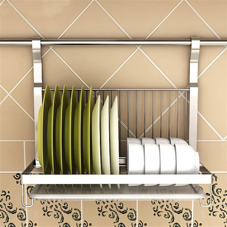A hanging dish drying rack can be a great solution for a kitchen with limited counter space.