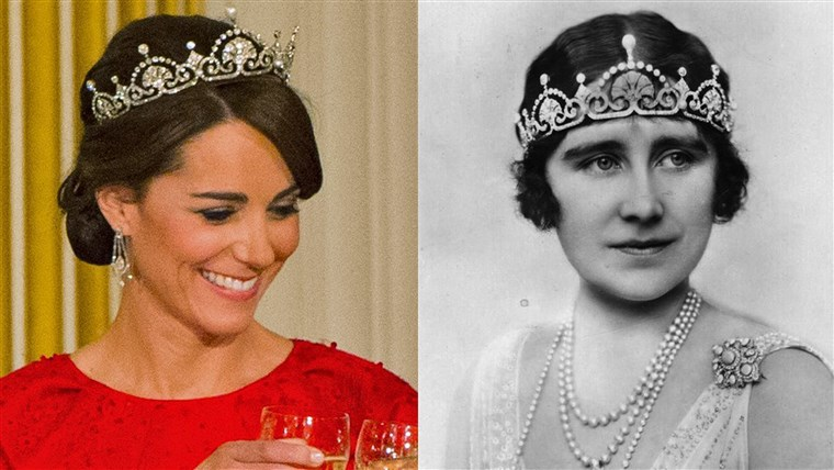 केट, Duchess of Cambridge, and the Queen Mother in Lotus Flower tiaras