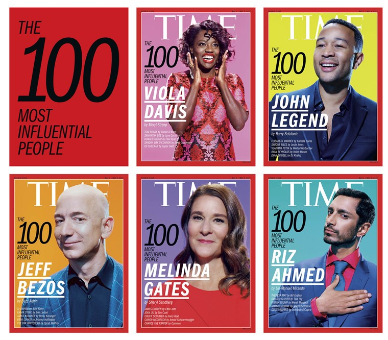 ה five covers of TIME's annual 100 Most Influential People issue.