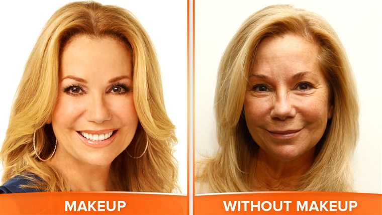 Kathie Lee with and without makeup.
