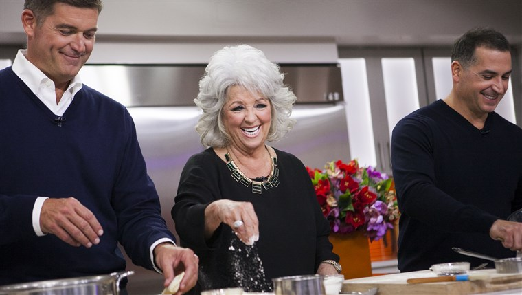 Paula Deen and her two sons Bobby and Jamie, along with Kathy Lee Gifford and Hoda Kotb, make fried apple pies on the TODAY show in New York, on Sept....