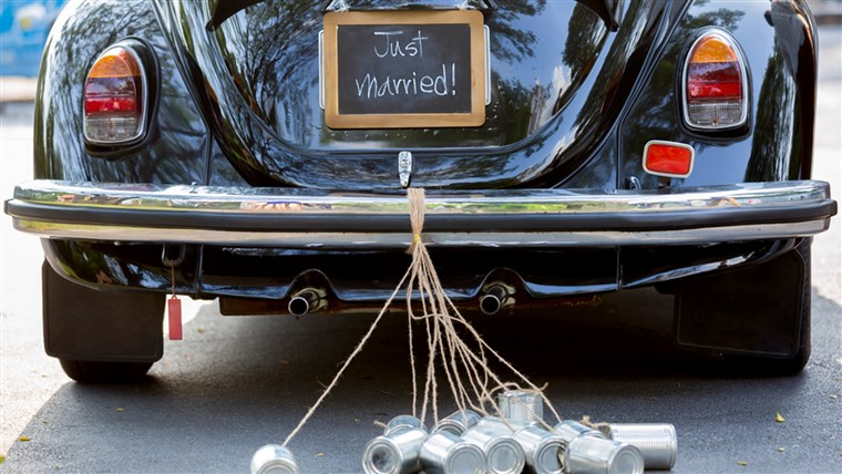 Éppen married sign on car, marriage week on TODAY
