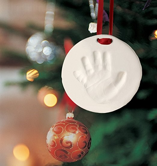 बच्चा's first christmas ornament - handprint and footprint