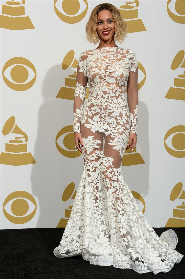 Pjevač Beyonce Knowles poses in the press room during the 56th Grammy Awards at the Staples Center in Los Angeles on January 26, 2014. AFP PHOTO/Joe...