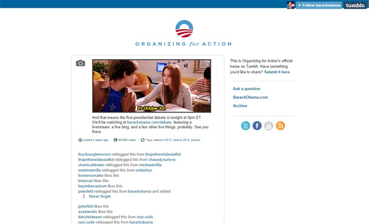 A Obama campaign used this GIF to promote a presidential debate in 2012.