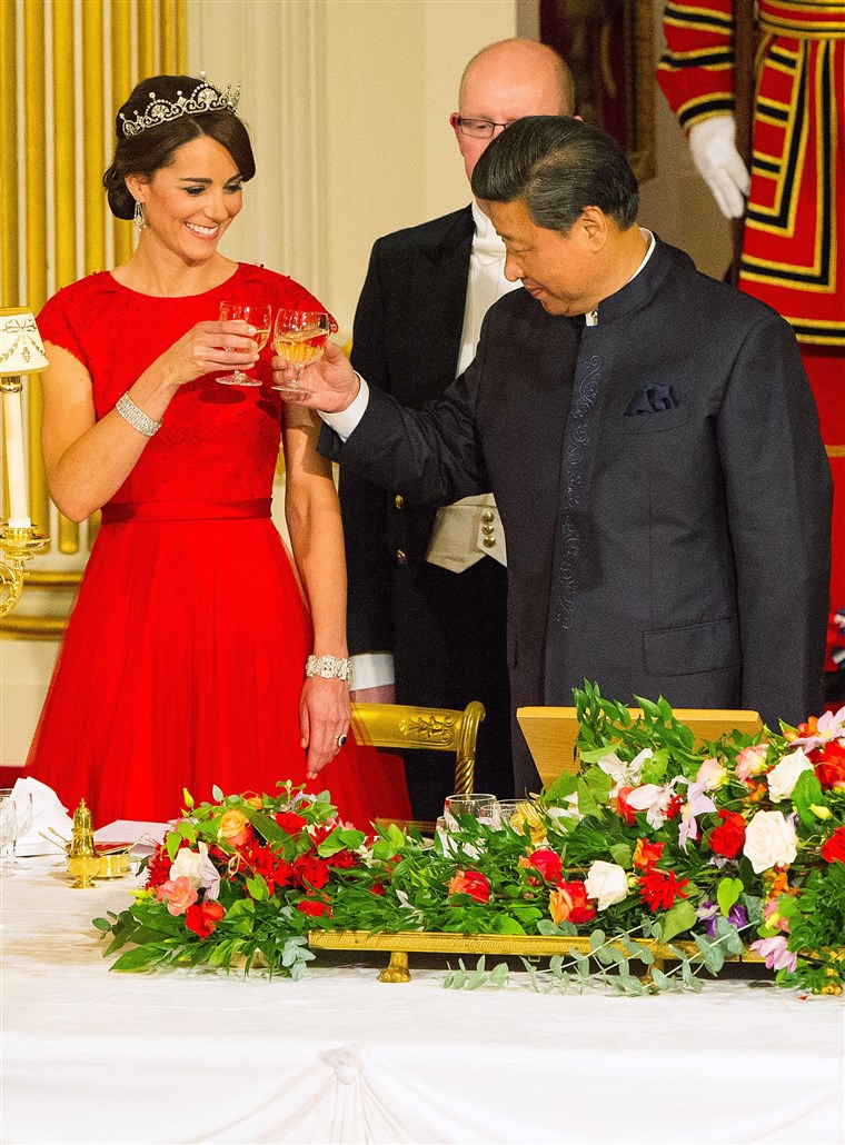 A Duchess of Cambridge wore the Lotus flower tiara, borrowed from Queen Elizabeth, to a state banquet at Buckingham Palace in 2015.