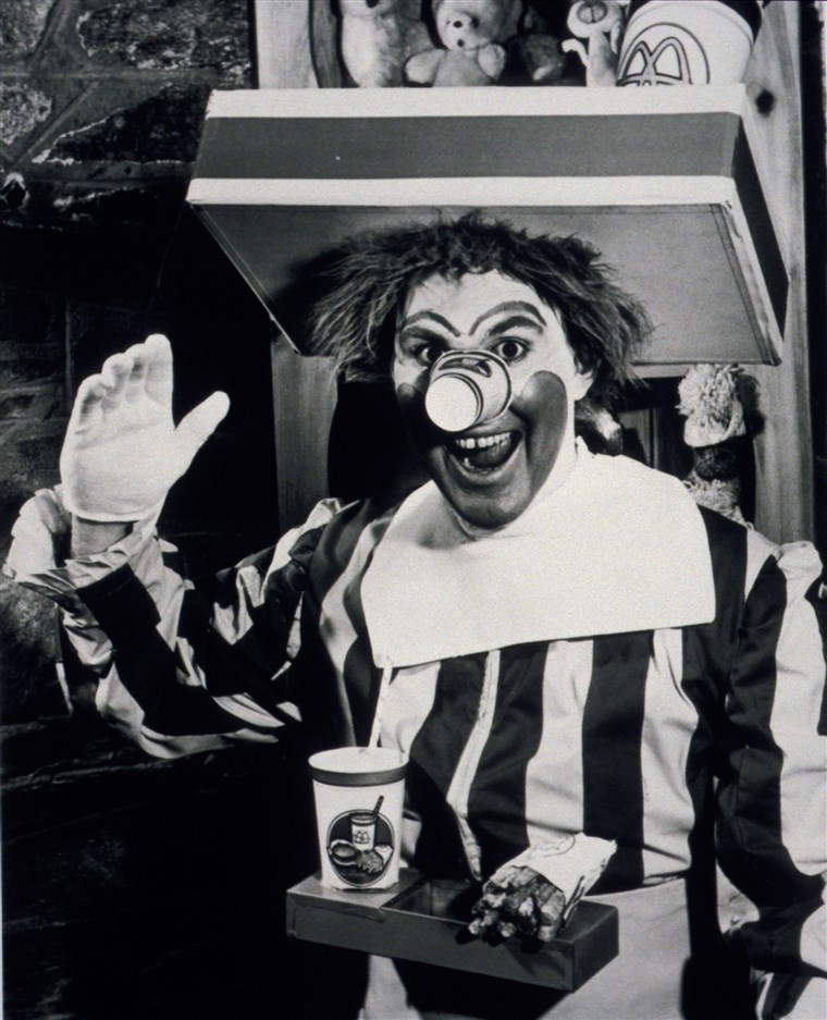Willard Scott poses as the first Ronald McDonald.
