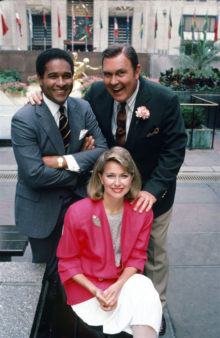בראיינט Gumbel, Jane Pauley and Willard Scott on Rockefeller Plaza.